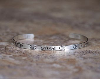 Inspiration Bracelet Cuff • Believe • Sterling Silver Inspirational Bracelet Cuff • Stamped Cuff • Custom Message Quote Jewelry • Gift