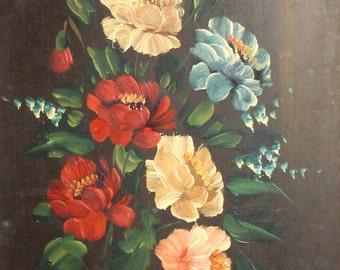 Vintage impressionist oil painting flowers signed