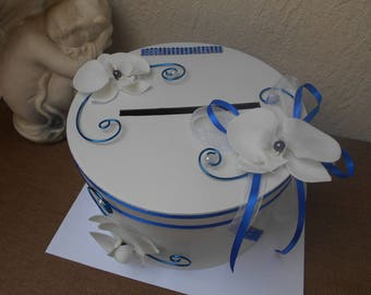 URN for white wedding Royal Blue and Blue Navy - white orchids