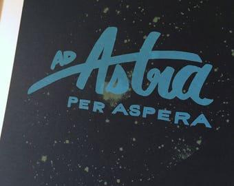 Ad Astra per Aspera // Art Print, 8.5 x 11 // Hand Silkscreened, Screenprinted // To the Stars, Voyager Golden Record, Geek art, Cosmos