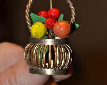 SALE Vintage fruit salad brooch/vintage basket brooch/ fruit glass beads/antique fruit brooch/antique art glass brooch/fruit salad basket