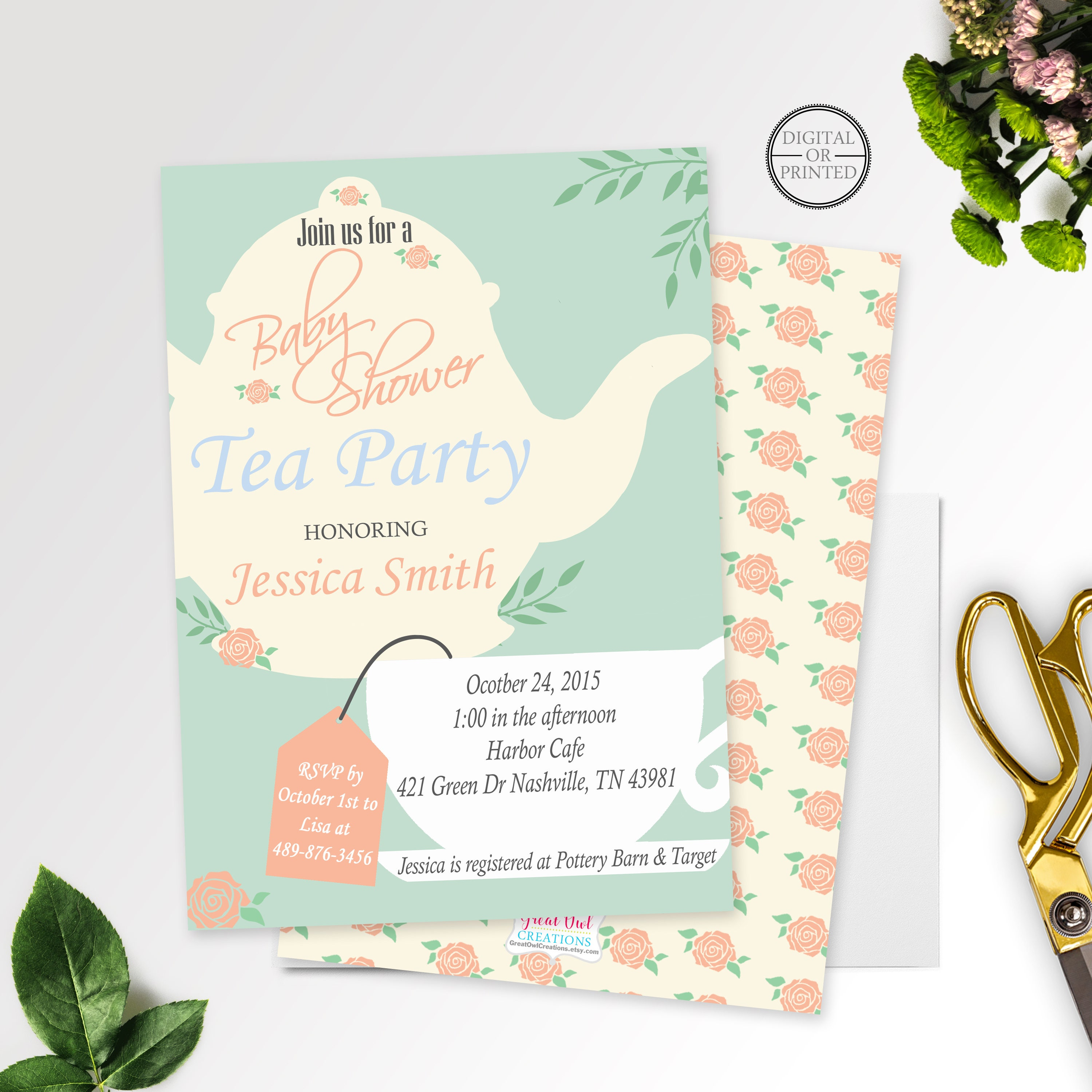 Tea Party Baby Shower Invitation Baby Shower Tea Party
