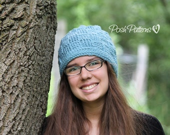 Crochet PATTERN - Crochet Hat Pattern - Slouchy Hat Pattern - Basket Weave Hat Pattern - Baby, Toddler, Child, Kids, Adult Sizes - PDF 198
