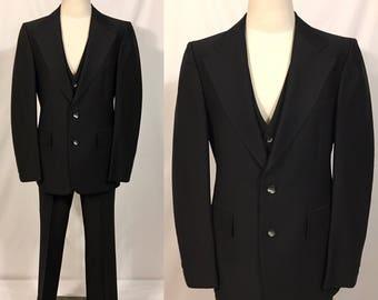 Vintage Mens Suit, Three Piece Suit, Mens professional suit, Black Vintage Suit, Three Piece Ensemble
