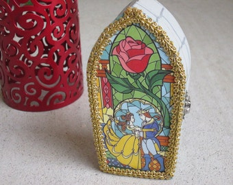 Beauty and the Beast inspired Stained Glass Storybook Window with Rose jewelry / trinket box
