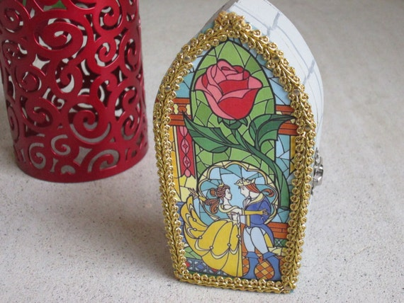 Beauty and the Beast inspired Stained Glass Storybook Window