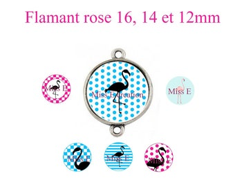 Pink Flamingo print of digital images for 16mm and 14mm and 12mm round cabochon