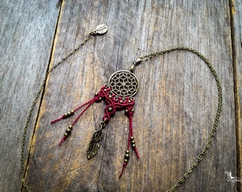 Macrame dreamcatcher necklace antique brass tone boho tribal chic jewelry by Creations Mariposa