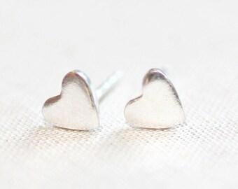 Mini Silver Heart Stud Earrings Tiny 925 Sterling Silver Studs