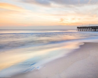 Matted, Color Photograph Print, Sunrise at Little Island Pier, Sandbridge, Virginia