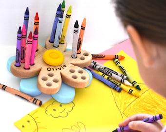 Crayon Holder - Personalized Back to School Gift - Daisy Flower - Wooden Crayon Holder