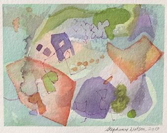 Original Watercolor Abstract Painting Art