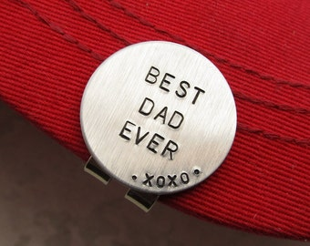 Fathers Day Gift, Personalized Golf Marker, Magnetic Golf Marker and Hat Clip Hand Stamped Golf Marker, Personalized Dad, Gift Best Dad Ever