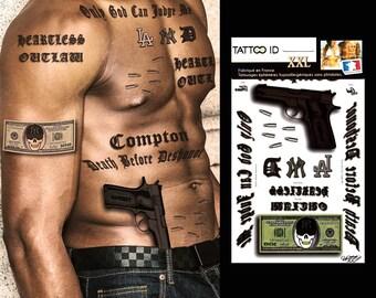 TATTOOID XXL Gangstar Rap HipHop phrase dollar short-lived tattoo temporary hypoallergenic made in FRANCE 1 Board 22cm x 14.5 cm