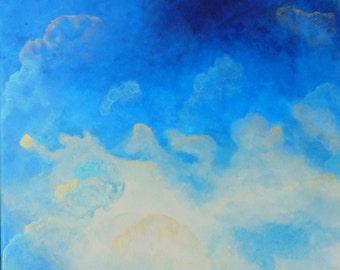 Tableau Abstrait Peinture bleu doré nuage Abstraction Décoration Format moyen carré 40 x 40 cm / 16 x 16 inch