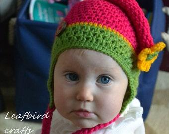 Crocheted Spring Elf hat, Elfin Photo Prop, Spring Elfin Newborn Baby Hat, Gnome hat, Toddler hat