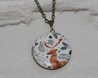 Deer Locket Necklace, Fawn Necklace, Woodland Jewelry, Animal Jewelry