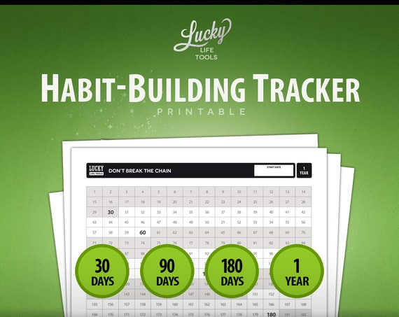"Habit Builder / Tracker & Calendar ""Don't break the chain"" - 30-day, 90-day, 180-day, 1-year ; Printable PDF; Letter size 8.5""x11"""