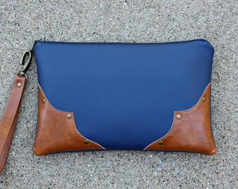 Blue Vegan Leather Clutch / Strap included