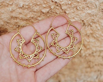 Mandala Earrings, Flower Earrings, Nature Earrings, Indian Earrings, Brass Hoop Earrings, Brass Earrings, Oversized Earrings, Boho Earrings