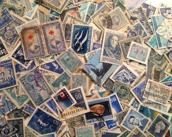 Shades of Blue Vintage Postage Stamps, Lot of 50 Used Off Paper Worldwide Postage Stamps, Philatelic