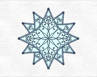 Christmas Star Machine Embroidery Design Instant Download
