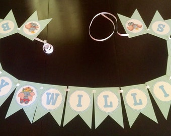 Dumbo Baby Shower banner, personalized with baby name or last name, Baby Shower, baby announcement banner, New baby, other colors available!