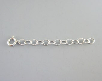 "Silver Necklace Extender - chain extension in sterling silver available in 1"", 2"", 3"" and 4 inch length, bracelet extender"