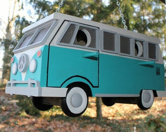 VW Bus Birdhouse finished in the traditional color combinations. Birdhouse has 2 compartments, and a bottom door for easy cleaning.