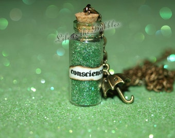 Jiminy Cricket Always Let Your Conscience Be Your Guide Bottle Magical Necklace - Umbrella Charm, Once Upon a Time, Dr. Hopper, Disney Bound