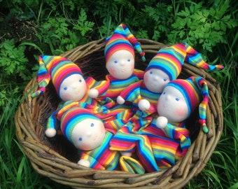 rainbow snuggle baby waldorf doll