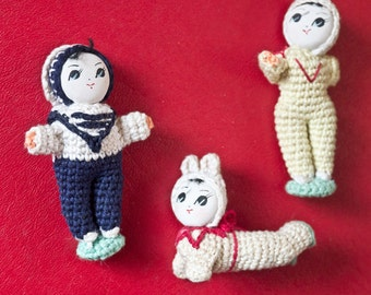 Set of Three Miniature Japanese Knit Stockinette Big Eye Dolls