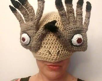 Crochet Pan's Labyrinth Hat - Crochet Monster Hat - Pale Man Hat - crochet mens womens hat - Halloween costume