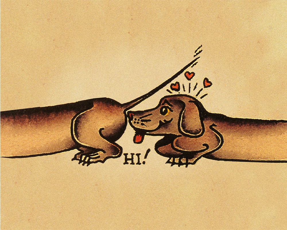 Hi Sausage Dog Sailor Jerry Tattoo Enamel Metal TIN SIGN