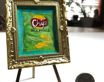 Miniature Dill Pickle Potato Chips Watercolor Painting