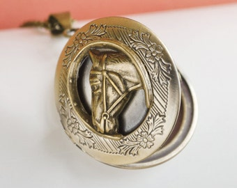 Horse Locket, Vintage Brass Locket Necklace, Secret Locket, Antique Locket, Gift for Her, Equestrian