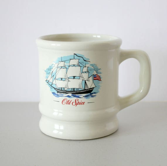 Vintage Old Spice Shaving Mug, 1960s Shave Cup, Grand Turk Sailing Ship Vessel