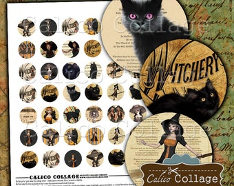 Black Cats & Witches Digital Collage Sheet Printable, Vintage Halloween, 1 inch circles, images for pendants, images for jewelry