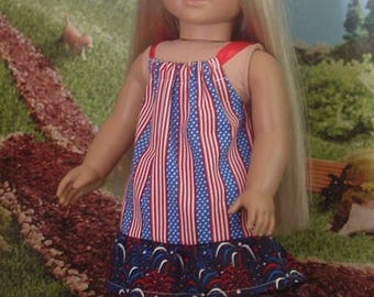 Fourth of July Pillowcase Dress for American Girl Dolls