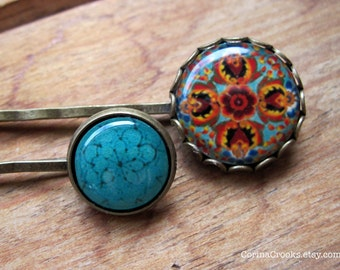 Hair Accessories, Bobby pins, Hair pins, kirby grips, Turquoise accessories, ethnic art, Mexican jewelry, boho hair