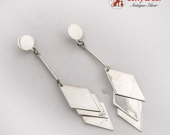 Modernist Long Rhomb Dangle Earrings Sterling Silver