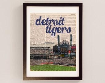 Detroit Tigers Dictionary Art Print - Detroit Baseball, Comerica Park - Print on Vintage Dictionary Paper - Baseball Art - Gift For Him