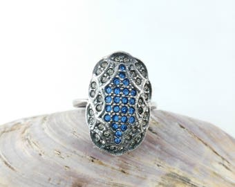 Oval Diamante Ring - Statement Ring - Pewter Tone Ring - Gift for Women - Blue Oval Ring - Mother's Day Gift  - Sparkly Blue Ring