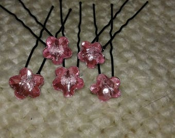 5 hair pins pearls rhinestones pink 48mm