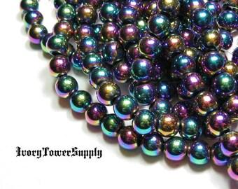 1 Strand 6mm Rainbow Hematite Beads
