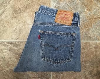 Vintage Men's 80's Levi's 501XX, Blue Jeans, Red Tab, Denim (W33)