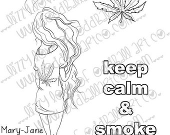 Digi Stamp Digital Instant Download Keep Calm & Smoke Weed ~ Mary-Jane Image No. 286 by Lizzy Love