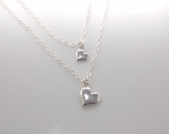 Tiny heart necklace set, Tiny heart mother and daughter necklace set