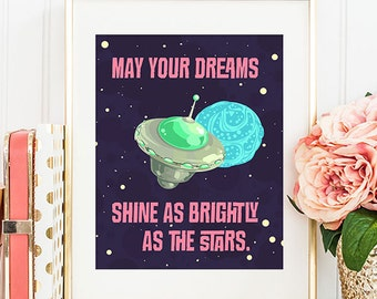 May Your Dreams Shine As Brightly As The Stars - 8x10 Printable Art, Nursey Decor, Nursery Art, Inspirational Print,
