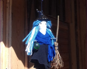 Good Luck Witch, Witch ornament, Blue Witch, Farmhouse witch decor, Traditional witch decor, Kitchen witch decor, OOAK housewarming gift